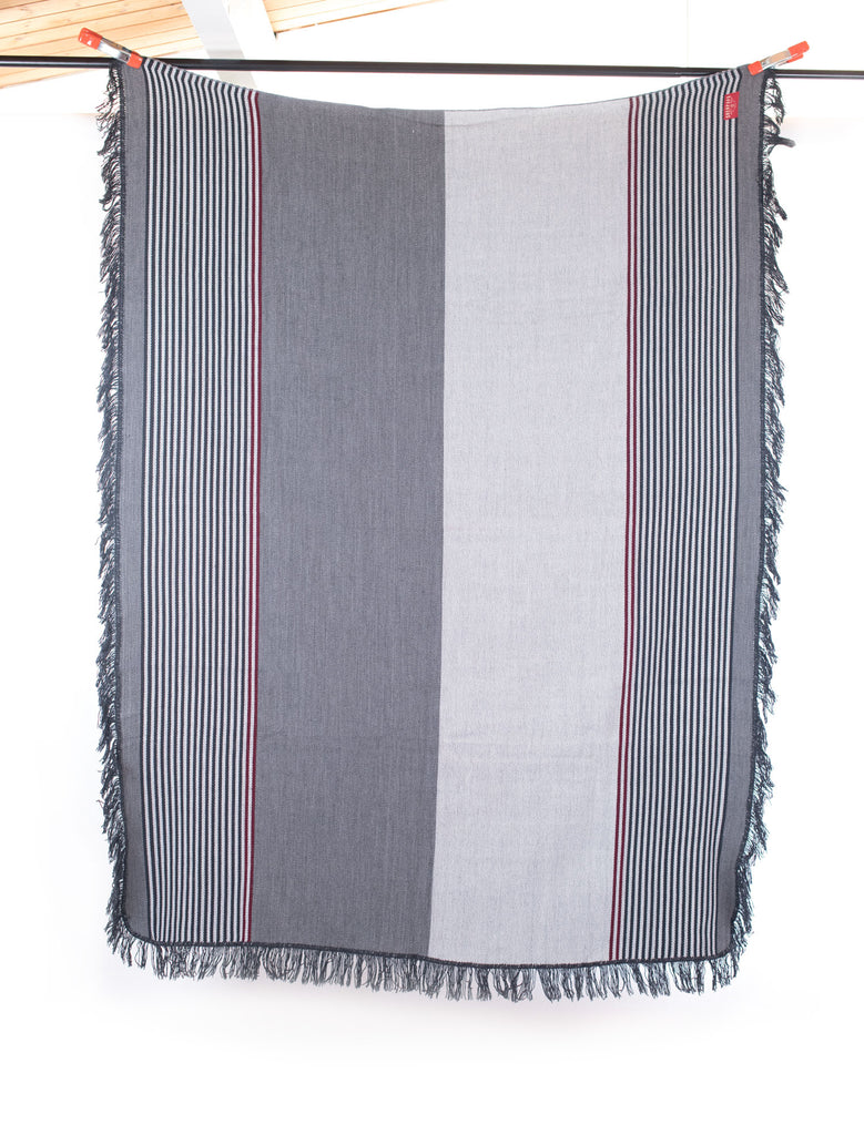 Taita Wool Blend Throw Blanket-Grey Stripe