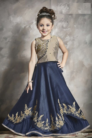 Ivory and Navy Blue Lehenga Choli