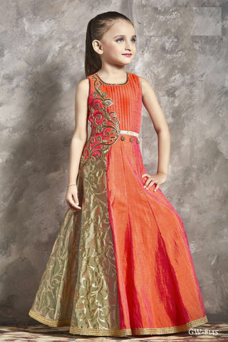 Orange and Sage Green Gown