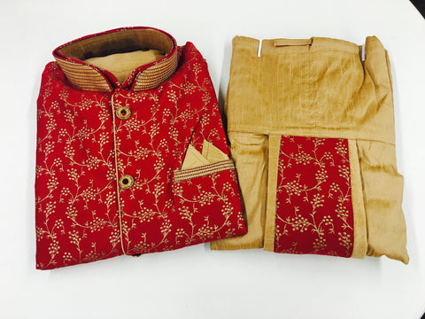 Gold Dhoti Style Kurta with Maroon Jacket