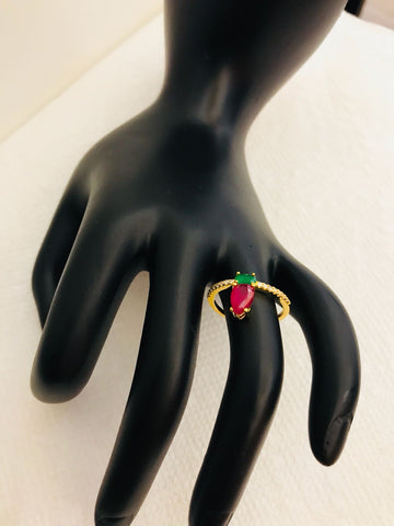 Pink and Green CZ Stones Finger Ring