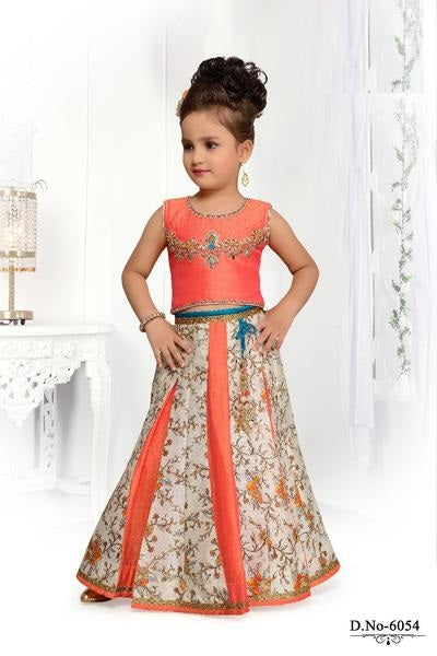 Orange and Off-White Floral Lehenga Choli - Sakkhi Style