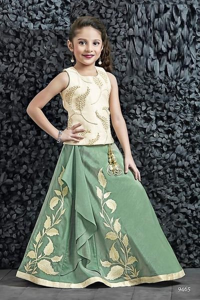 Green and Off-White Lehenga Choli - Sakkhi Style
