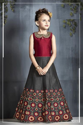 Maroon and Grey Lehenga Choli