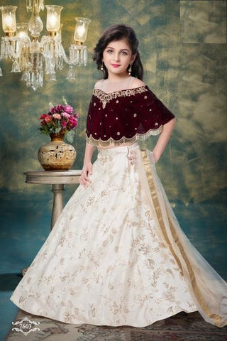 Maroon Off-Shoulder Lehenga Choli