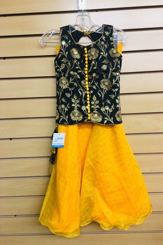 Black and Yellow Lehenga Choli