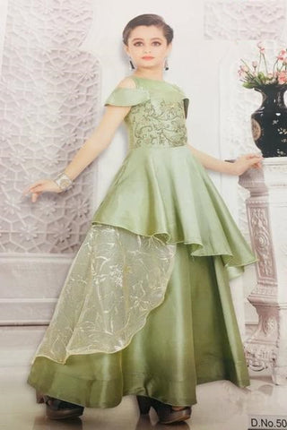 Pastel Green Satin Gown
