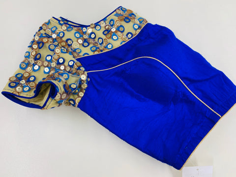 Royal Blue Raw Silk Blouse
