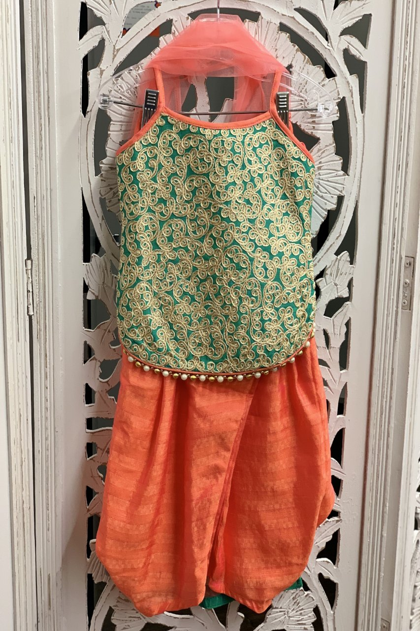 Turquoise and Peach Salwar Suit - Sakkhi Style