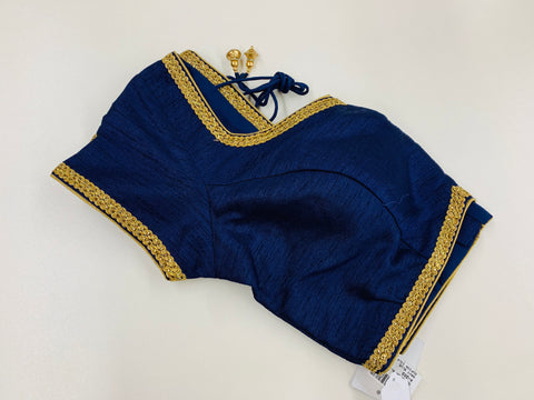 Navy Blue Dupion Silk Blouse