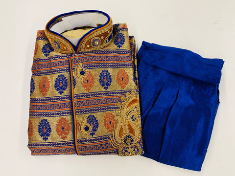 Blue and Gold Embroidered Kurta Pyjama