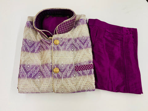 Purple Kurta Pyjama with Jacket