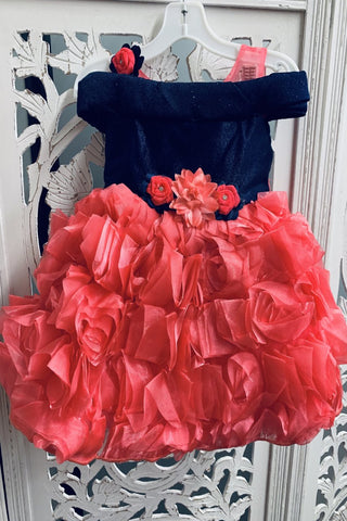 Navy Blue and Pink Off-Shoulder Frock
