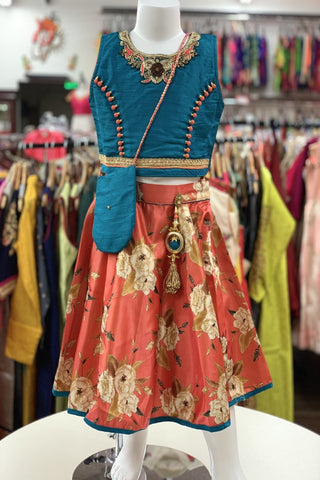 Blue and Peach Floral Lehenga Choli