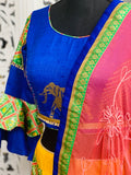Royal Blue and Yellow Lehenga Choli