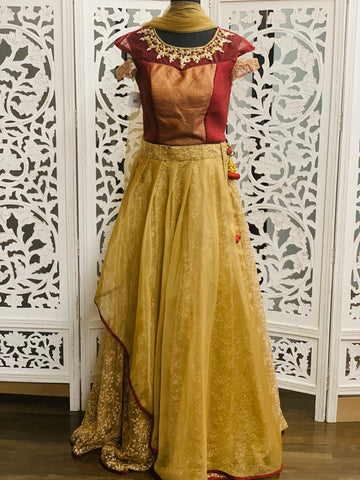 Maroon and Gold Lehenga Choli