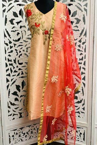 Peach and Red Embroidered Straight Cut Suit