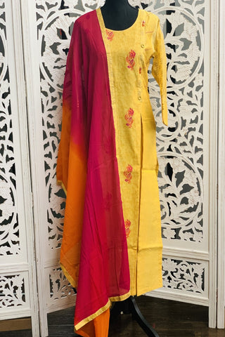 Yellow and Pink Straight Cut Suit