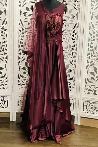 Burgundy Anarkali Suit