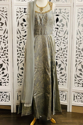 Grey Anarkali Suit