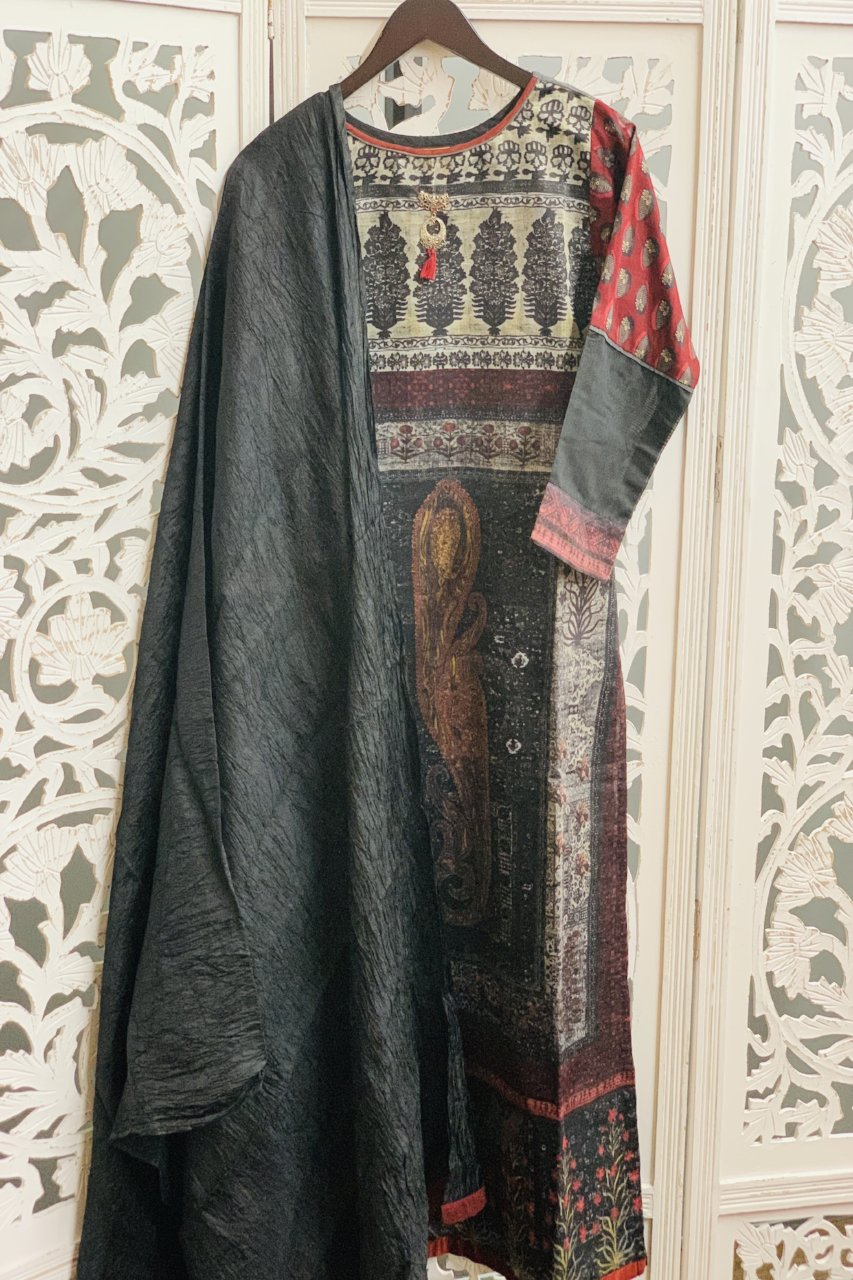 Black and Maroon Straight Cut Suit - Sakkhi Style