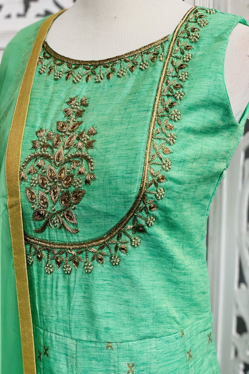 Mint Green Anarkali Suit - Sakkhi Style