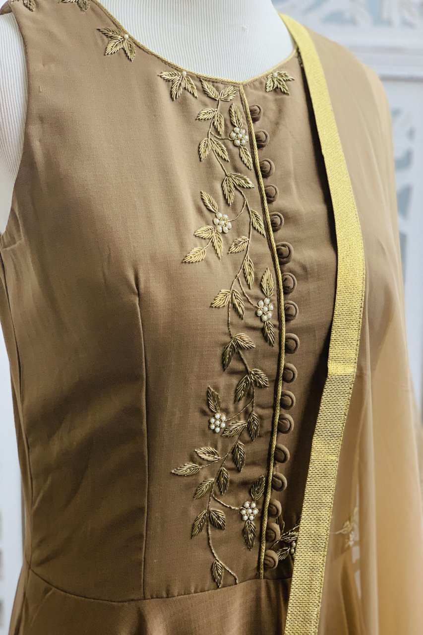 Brown Anarkali Suit - Sakkhi Style