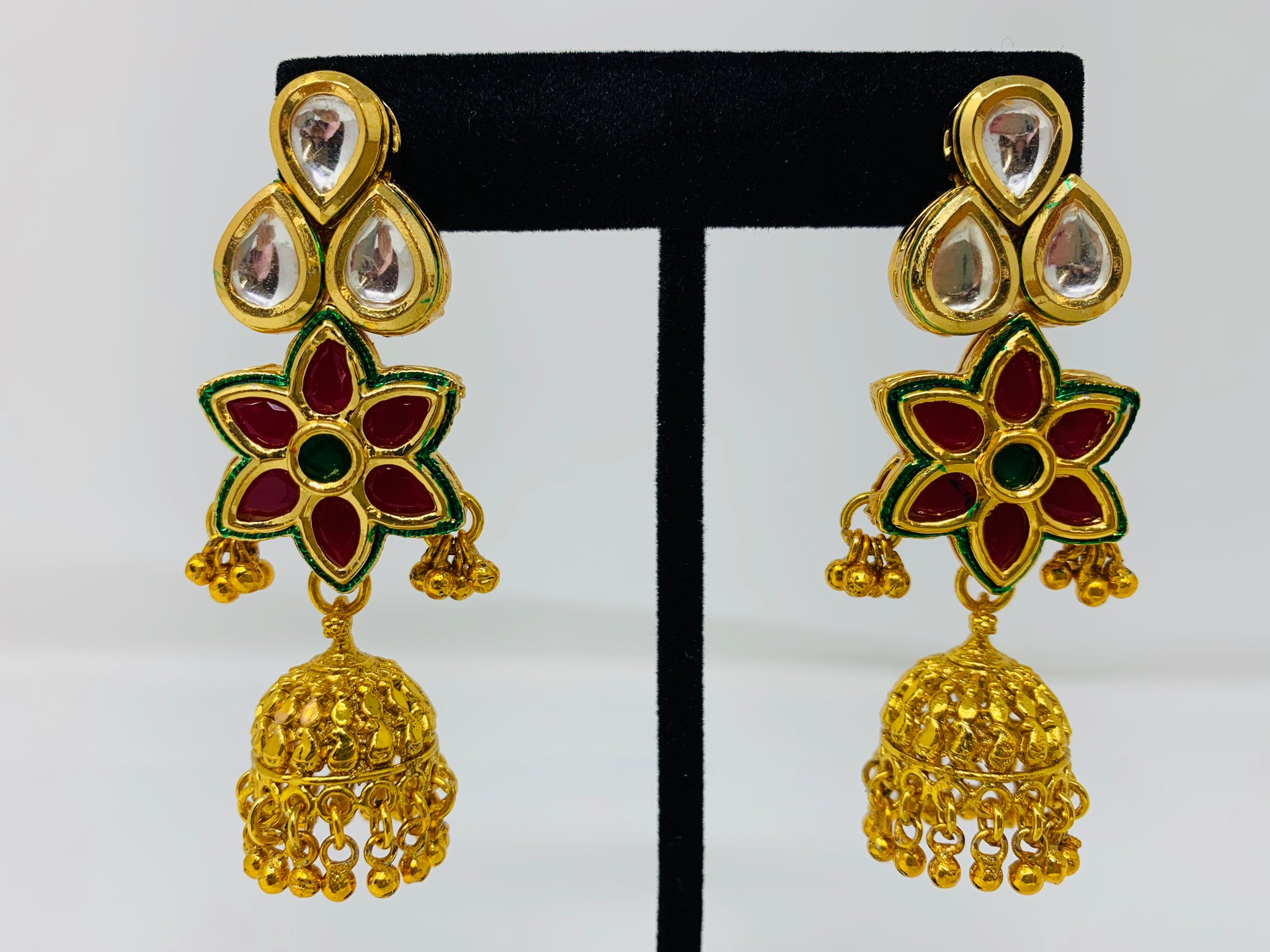 White and Pink Kundan Jhumkas