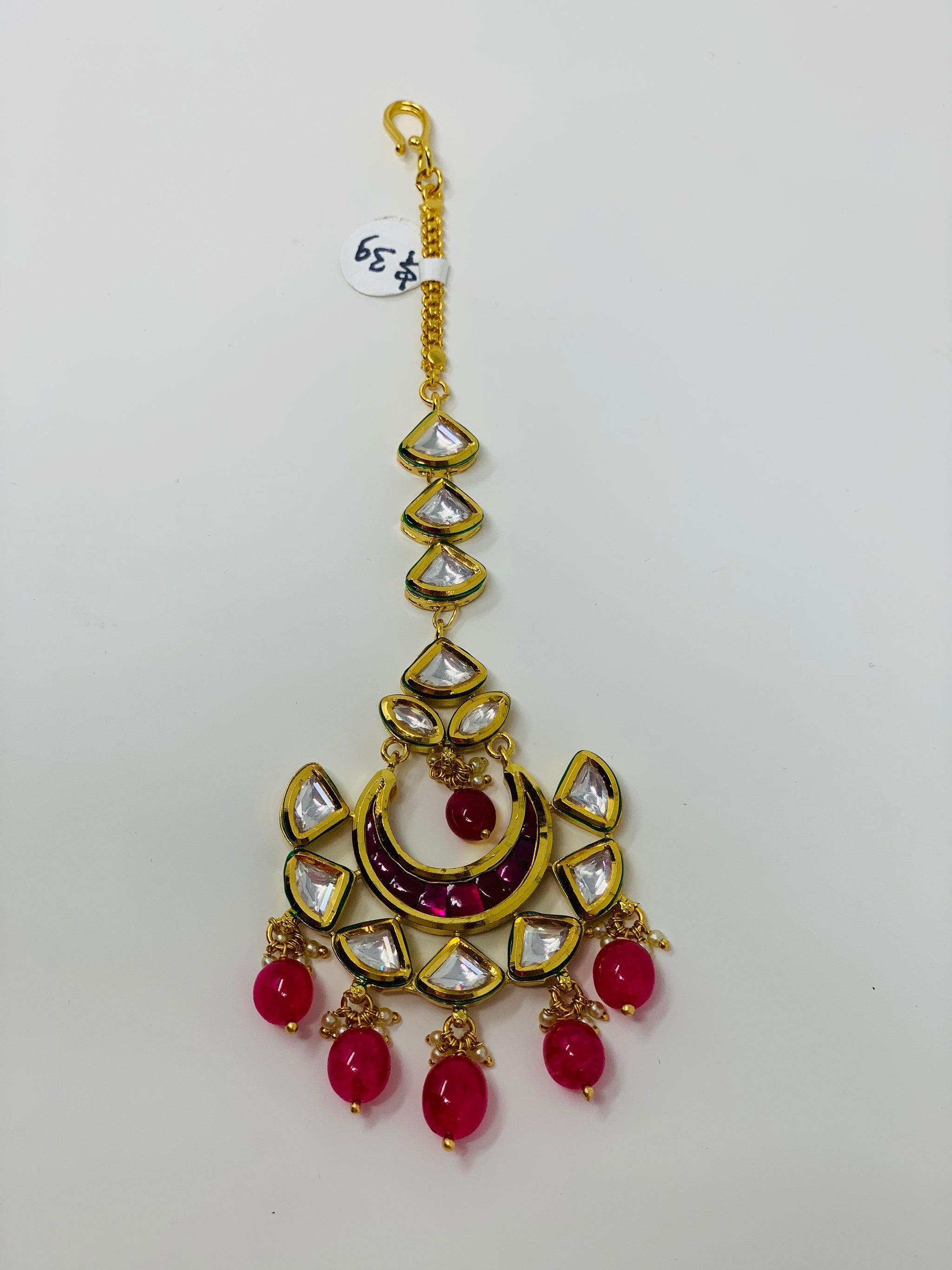 Kundan Tikka with Pink Beads