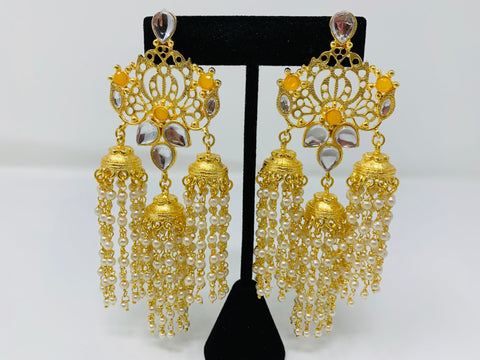Gold Jhumkas with Yellow Beads