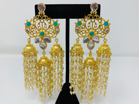 Gold Jhumkas with Green Beads