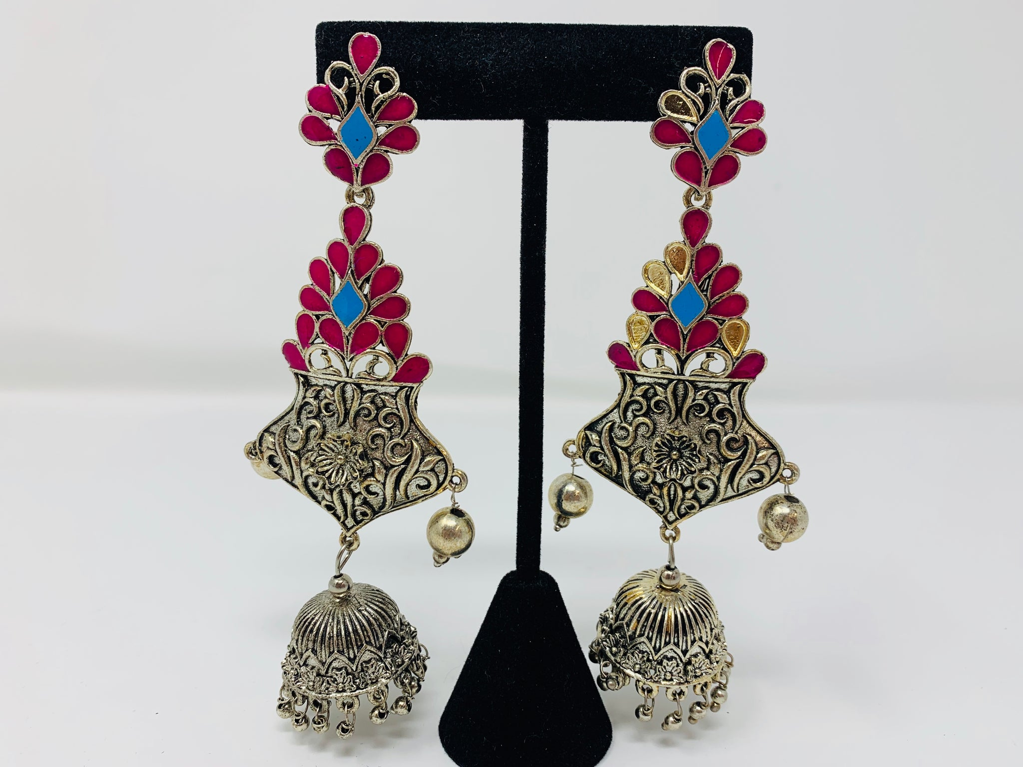 Pink and Blue Silver Oxidized Earrings