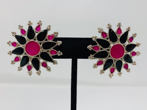 Black and Pink Enamel Studs
