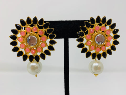 Black and Pink Studs with Pearl Drop