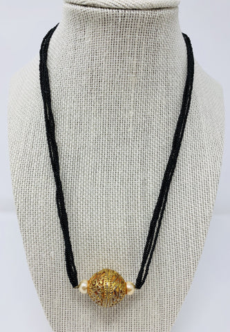 Black Beads Chain with Locket