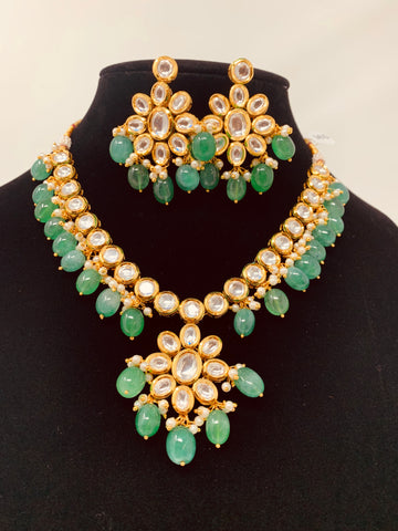 Kundan Set with Green Beads