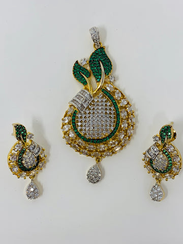 Pendant with Green and White CZ Stones