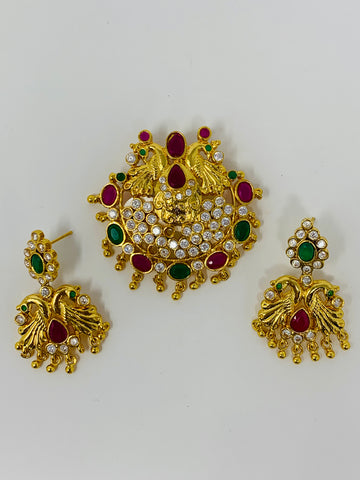 Semi Rubies and Emeralds Pendant Set