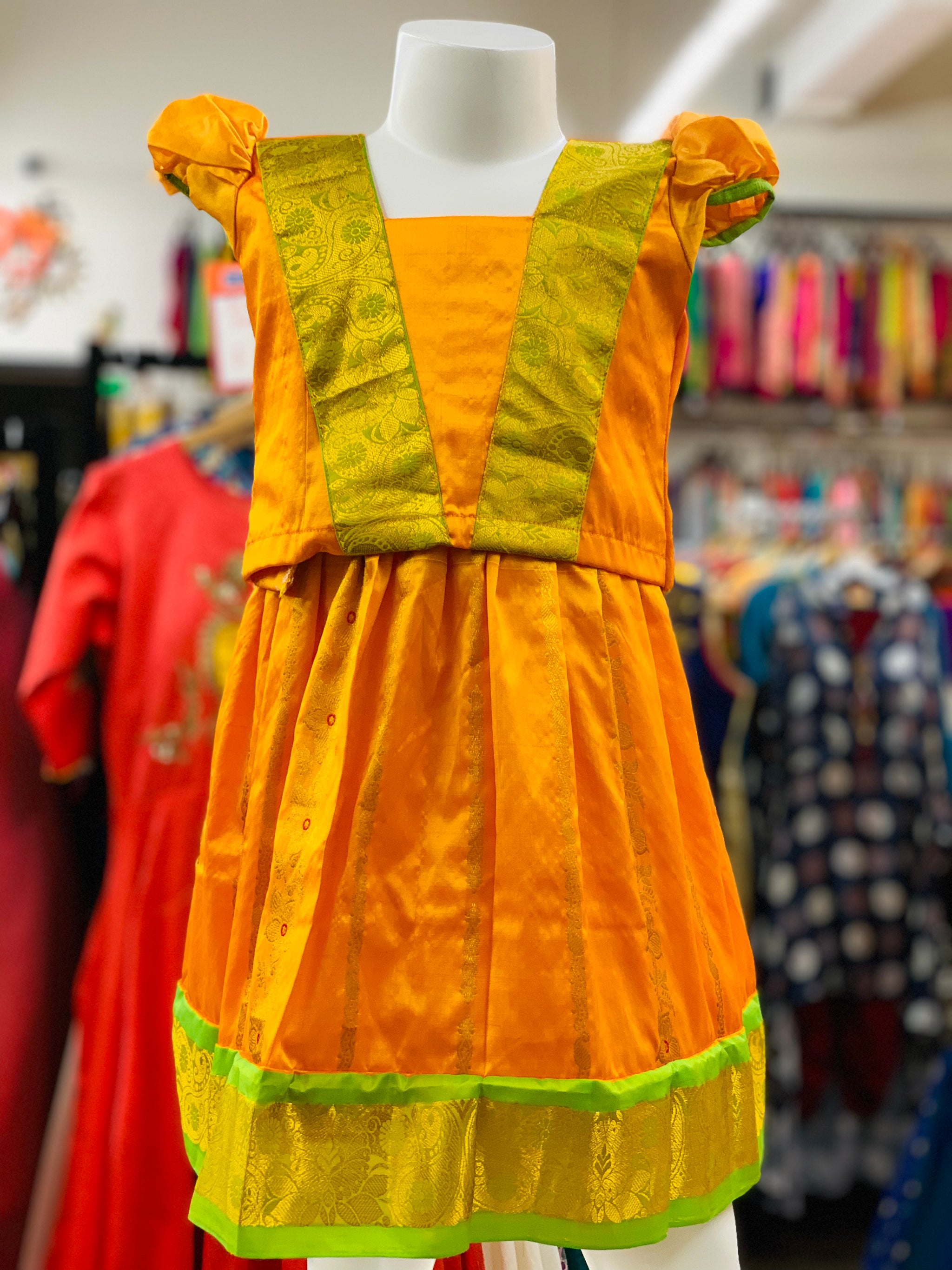 Yellow and Green Pattu Pavadai - Sakkhi Style