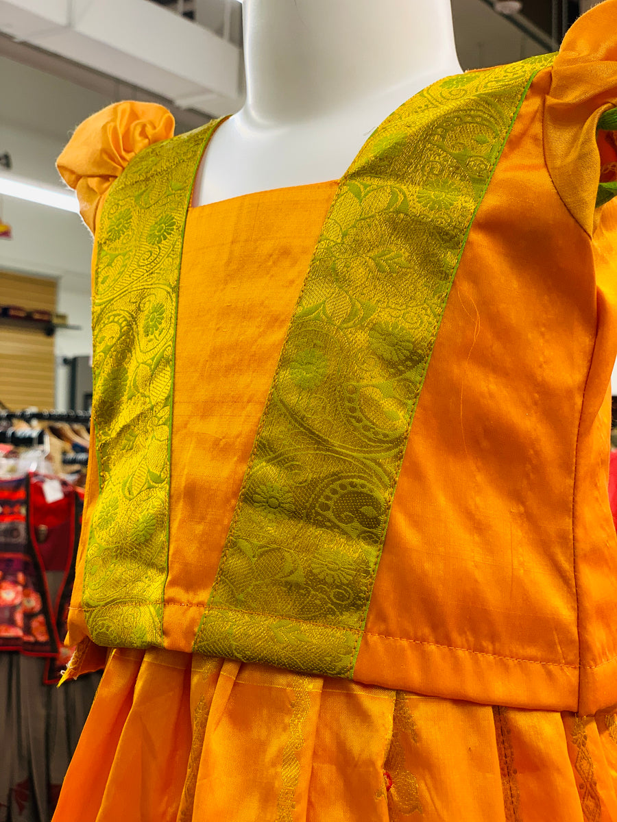 Yellow and Green Pattu Pavadai