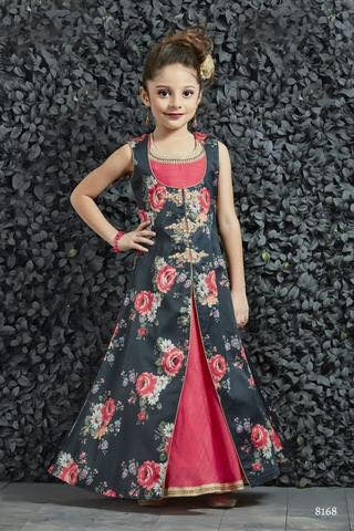 Navy Blue and Pink Gown - Sakkhi Style