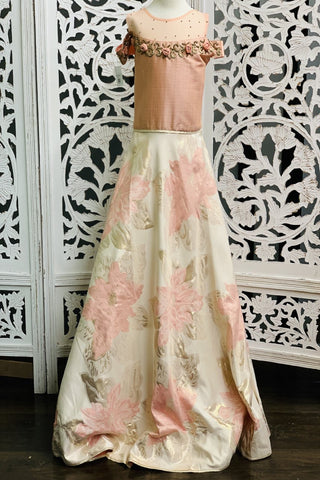 Off-White and Pastel Pink Girls Gown