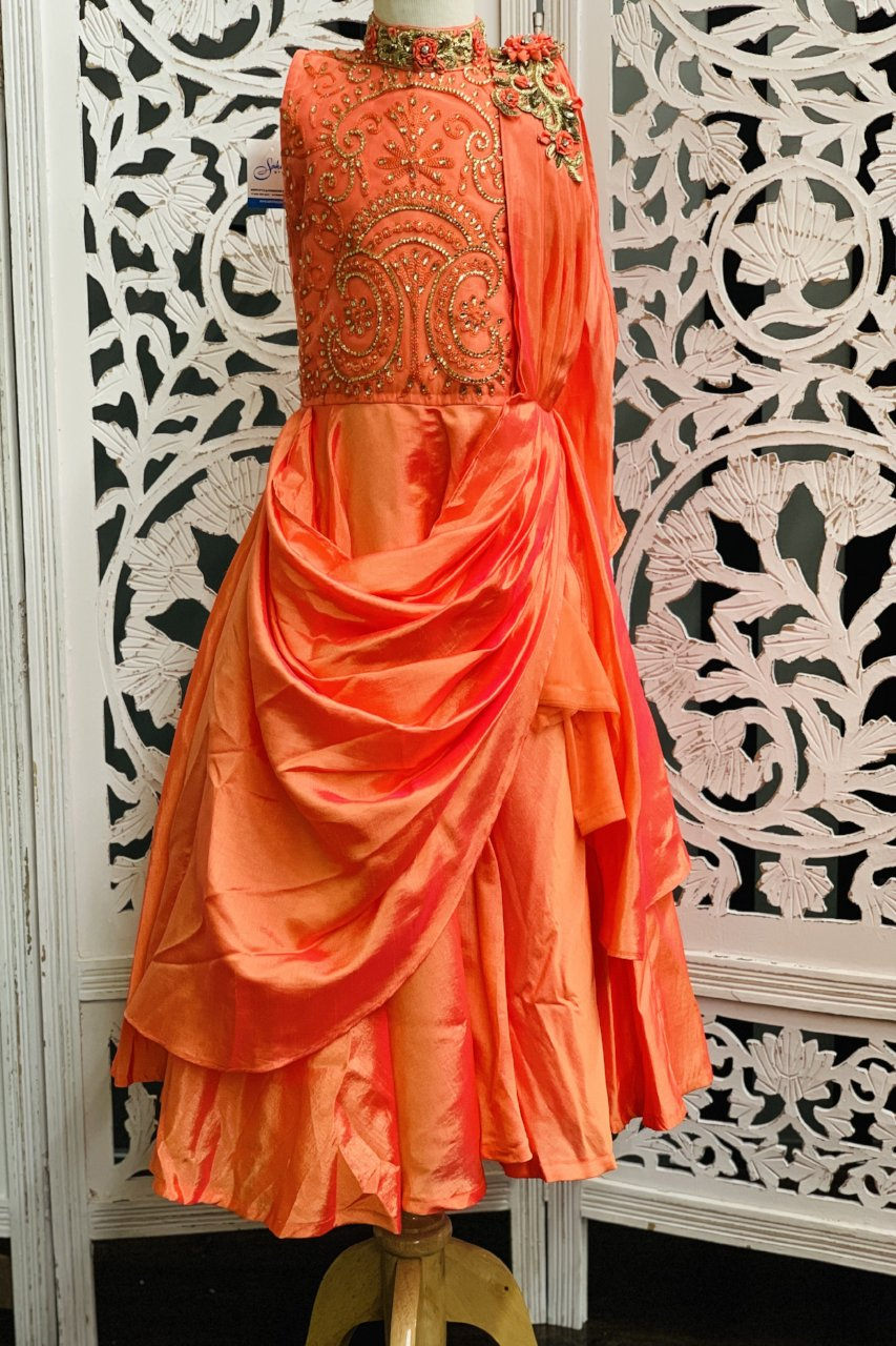 Orange and Pink Gown - Sakkhi Style