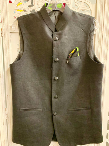 Black Jacket with Green and Black Pocket Square