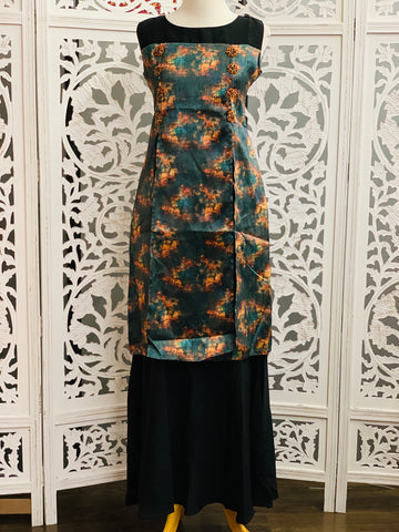 Bottle Green and Black Kurti