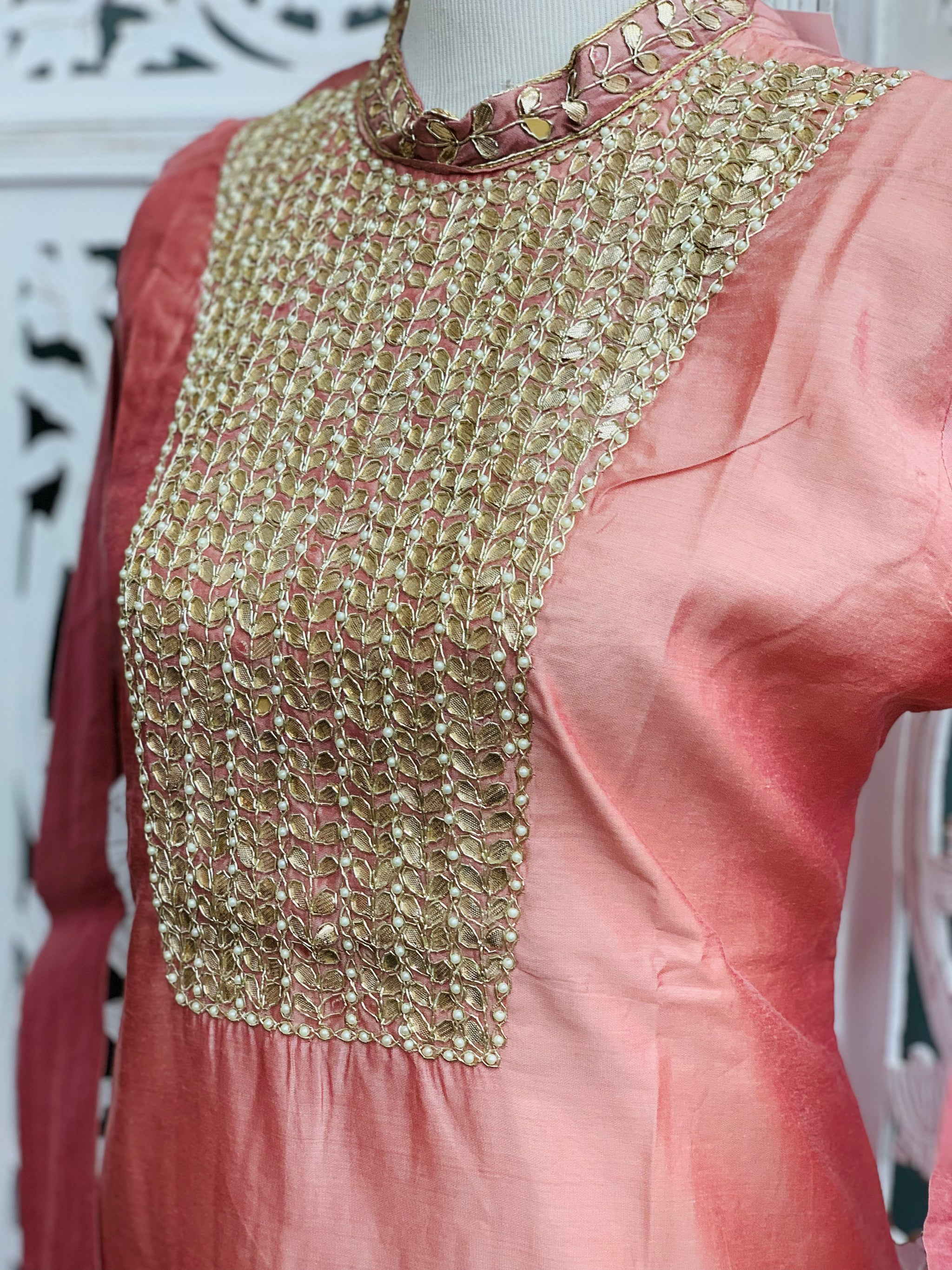 Pastel Pink Embroidered KurtI