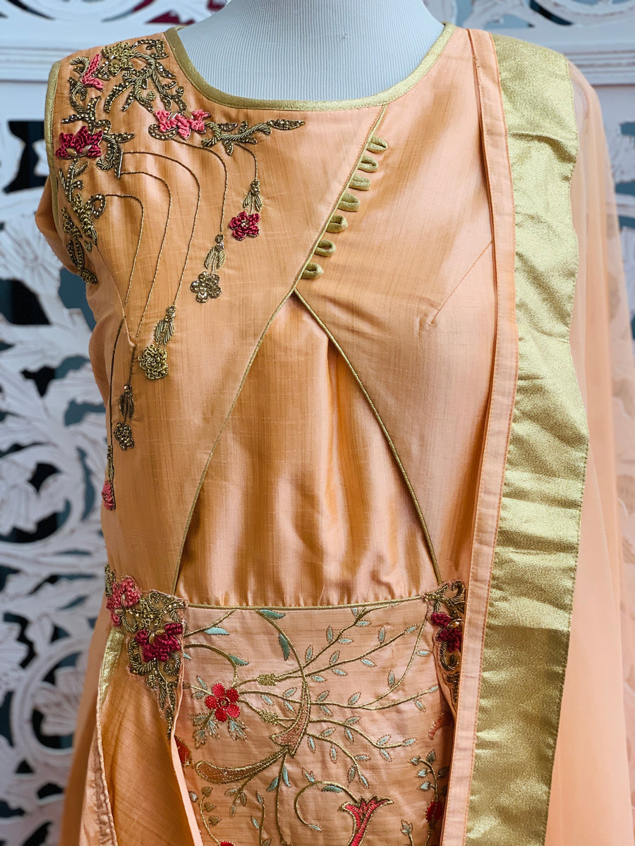 Peach Embroidered Anarkali Suit - Sakkhi Style