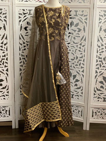 Brown Embroidered Anarkali Suit