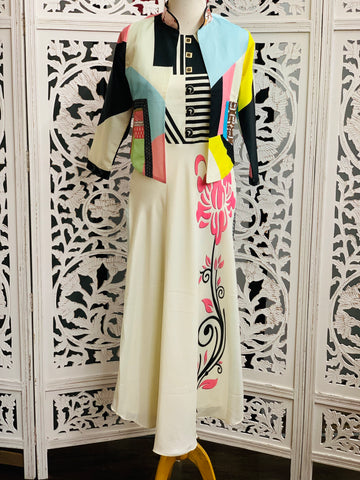 White Kurti with Multi Colored Jacket