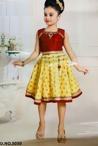 Maroon and Yellow Lehenga Choli